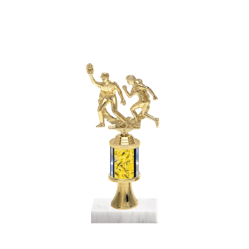 "10"" Softball Trophy with Softball Figurine, 2"" colored column, gold riser and marble base."