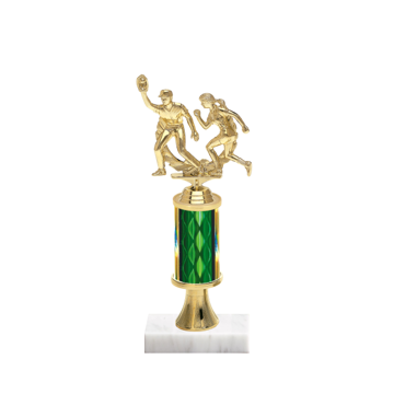 "11"" Softball Trophy with Softball Figurine, 3"" colored column, gold riser and marble base."