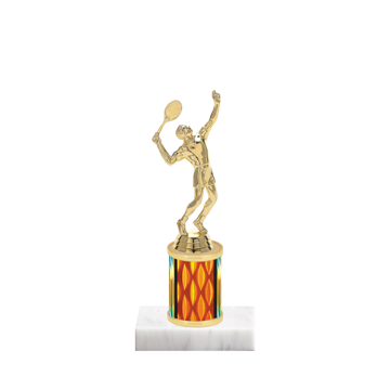 """7"""" Tennis Trophy with Tennis Figurine, 2"""" colored column and marble base."""