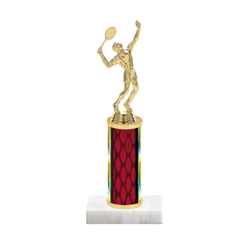 """9"""" Tennis Trophy with Tennis Figurine, 4"""" colored column and marble base."""