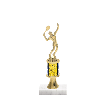 """10"""" Tennis Trophy with Tennis Figurine, 2"""" colored column, gold riser and marble base."""