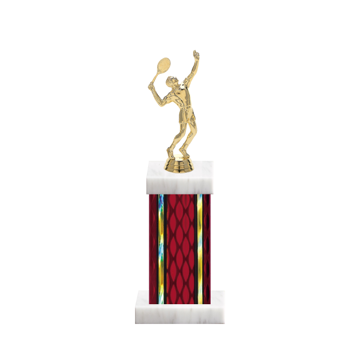"""12"""" Tennis Trophy with Tennis Figurine, 5"""" colored column and marble base."""