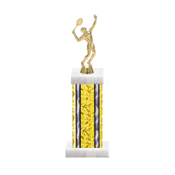 """13"""" Tennis Trophy with Tennis Figurine, 6"""" colored column and marble base."""