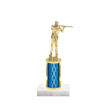"8"" Trap & Skeet Trophy with Trap & Skeet Figurine, 3"" colored column and marble base."