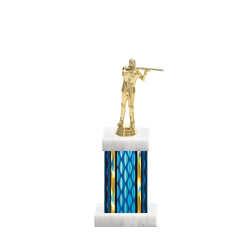 "11"" Trap & Skeet Trophy with Trap & Skeet Figurine, 4"" colored column and marble base."