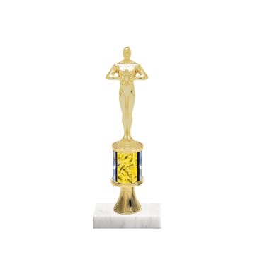 "10"" Victory Trophy with Victory Figurine, 2"" colored column, gold riser and marble base."