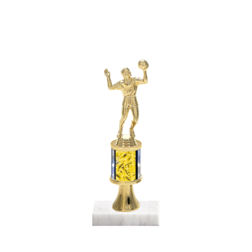 "10"" Volleyball Trophy with Volleyball Figurine, 2"" colored column, gold riser and marble base."