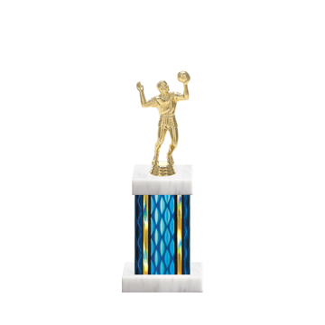 "11"" Volleyball Trophy with Volleyball Figurine, 4"" colored column and marble base."