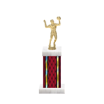 "12"" Volleyball Trophy with Volleyball Figurine, 5"" colored column and marble base."