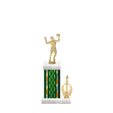 "13"" Volleyball Trophy with Volleyball Figurine, 5"" colored column, side trim and marble base."