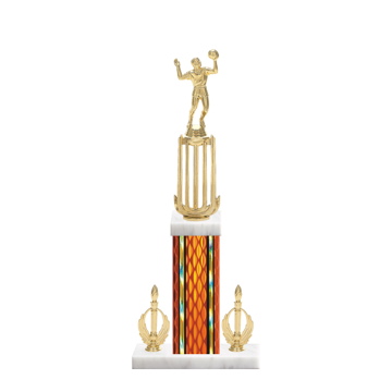 "18"" Volleyball Trophy with Volleyball Figurine, 7"" colored column, double side trim and marble base."