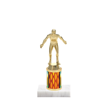 """7"""" Wrestling Trophy with Wrestling Figurine, 2"""" colored column and marble base."""