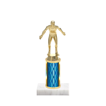 """8"""" Wrestling Trophy with Wrestling Figurine, 3"""" colored column and marble base."""