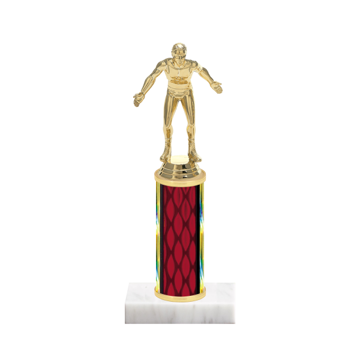 """9"""" Wrestling Trophy with Wrestling Figurine, 4"""" colored column and marble base."""