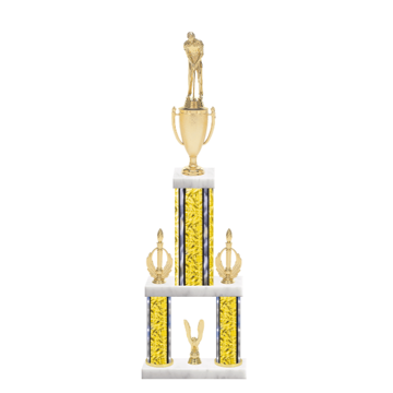 """24"""" Multi-Tier Miniature Golf Trophy with Miniature Golf Figurine, 7"""" colored top column, 5"""" colored bottom columns, cup riser, double side trim and center base trim."""