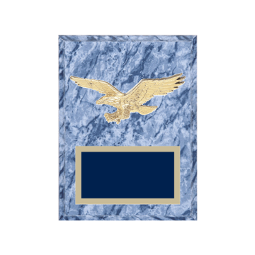 """6"""" x 8"""" American Flag   Patriotic Plaque with gold background plate, colored engraving plate and gold 3D American Flag   Patriotic medallion."""