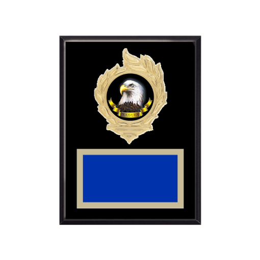 """6"""" x 8"""" Animal Plaque with gold background, colored engraving plate, gold flame medallion holder and Animal insert."""