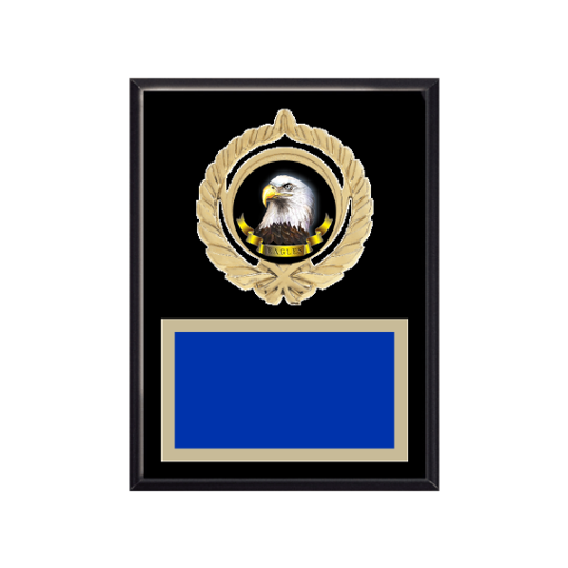 """6"""" x 8"""" Animal Plaque with gold background plate, colored engraving plate, gold open wreath medallion holder and Animal insert."""