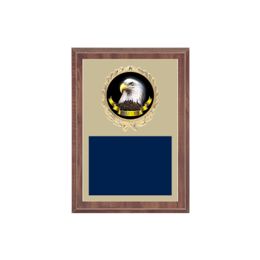 "5"" x 7"" Animal Plaque with gold background plate, colored engraving plate, gold wreath medallion and Animal insert."