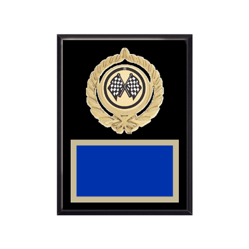 """6"""" x 8"""" Auto   Racing Plaque with gold background plate, colored engraving plate, gold open wreath medallion holder and Auto   Racing insert."""