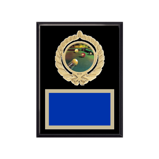 """6"""" x 8"""" Pool   Billiards Plaque with gold background plate, colored engraving plate, gold open wreath medallion holder and Pool   Billiards insert."""