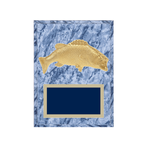 """6"""" x 8"""" Hunting   Fishing Plaque with gold background plate, colored engraving plate and gold 3D Hunting   Fishing medallion."""