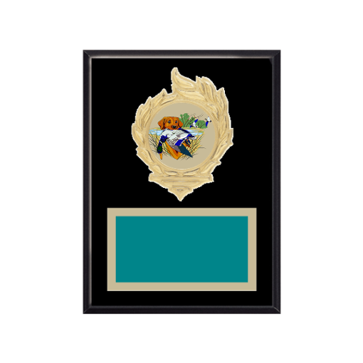 """6"""" x 8"""" Hunting   Fishing Plaque with gold background, colored engraving plate, gold flame medallion holder and Hunting   Fishing insert."""