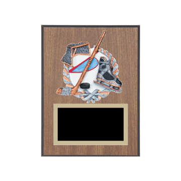 """6"""" x 8"""" Ice Skating   Roller Skating Plaque with gold background plate, colored engraving plate and full color 3D resin Ice Skating   Roller Skating medallion."""