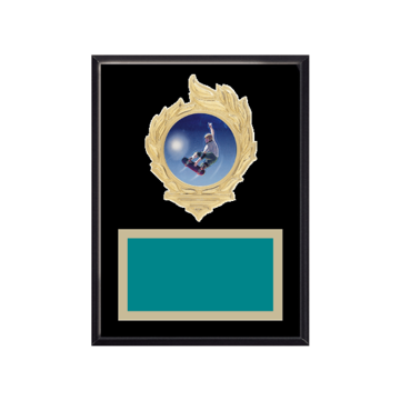 """6"""" x 8"""" Ice Skating   Roller Skating Plaque with gold background, colored engraving plate, gold flame medallion holder and Ice Skating   Roller Skating insert."""