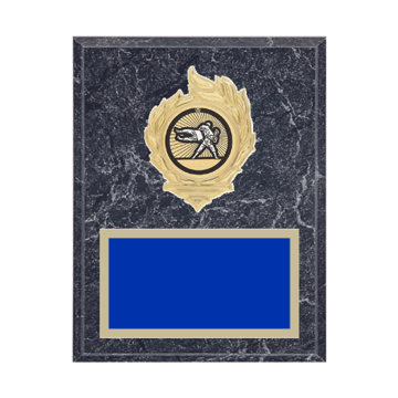 """7"""" x 9"""" Martial Arts Plaque with gold background, colored engraving plate, gold flame medallion holder and Martial Arts insert."""