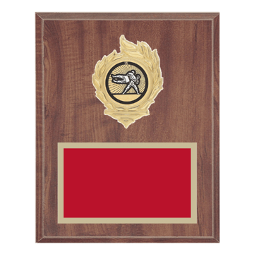 """8"""" x 10"""" Martial Arts Plaque with gold background, colored engraving plate, gold flame medallion holder and Martial Arts insert."""