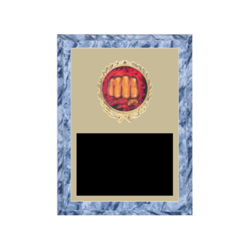 """6"""" x 8"""" Martial Arts Plaque with gold background plate, colored engraving plate, gold wreath medallion and Martial Arts insert."""