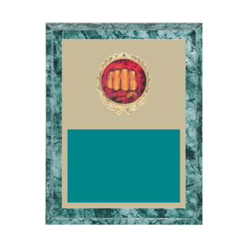 """7"""" x 9"""" Martial Arts Plaque with gold background plate, colored engraving plate, gold wreath medallion and Martial Arts insert."""