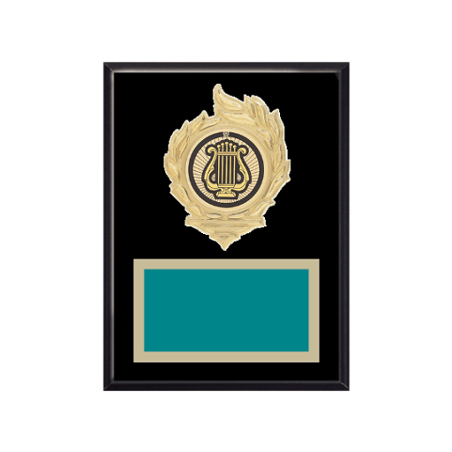"""6"""" x 8"""" Music Plaque with gold background, colored engraving plate, gold flame medallion holder and Music insert."""