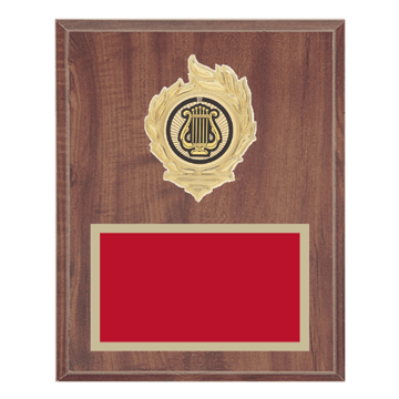 "8"" x 10"" Music Plaque with gold background, colored engraving plate, gold flame medallion holder and Music insert."