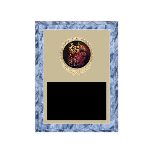 "6"" x 8"" Music Plaque with gold background plate, colored engraving plate, gold wreath medallion and Music insert."
