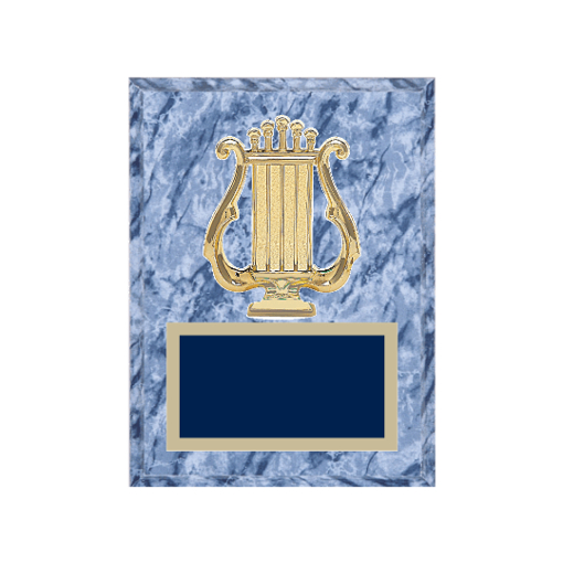 """6"""" x 8"""" Music Plaque with gold background plate, colored engraving plate and gold 3D Music medallion."""