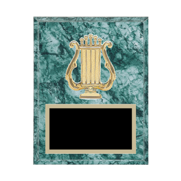 "7"" x 9"" Music Plaque with gold background plate, colored engraving plate and gold 3D Music medallion."