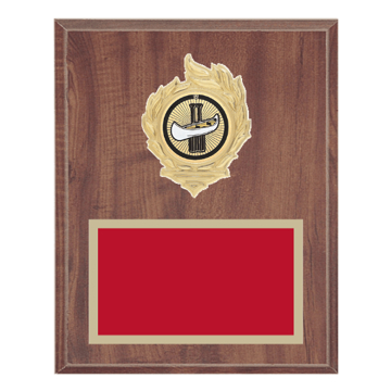 "8"" x 10"" Sailing Plaque with gold background, colored engraving plate, gold flame medallion holder and Sailing insert."