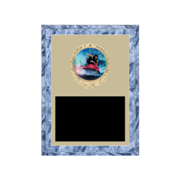 "6"" x 8"" Sailing Plaque with gold background plate, colored engraving plate, gold wreath medallion and Sailing insert."
