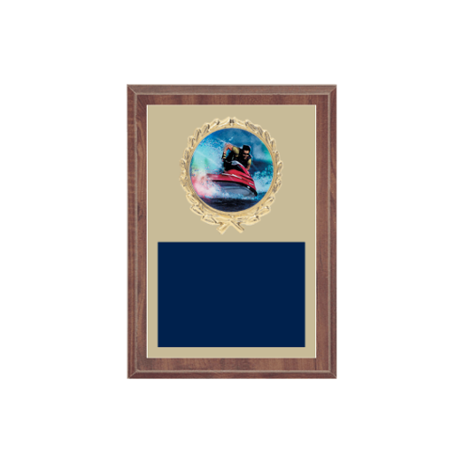 """5"""" x 7"""" Sailing Plaque with gold background plate, colored engraving plate, gold wreath medallion and Sailing insert."""