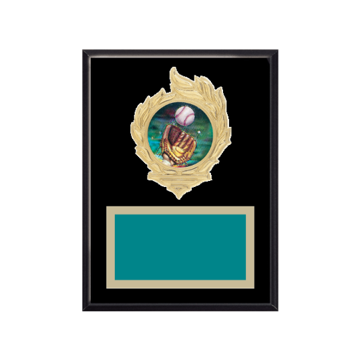 "6"" x 8"" Softball Plaque with gold background, colored engraving plate, gold flame medallion holder and Softball insert."