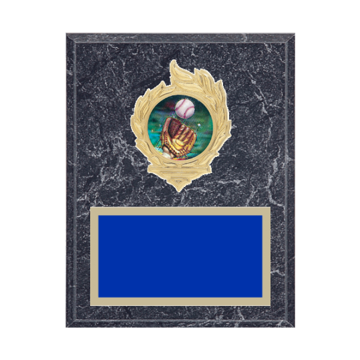 "7"" x 9"" Softball Plaque with gold background, colored engraving plate, gold flame medallion holder and Softball insert."