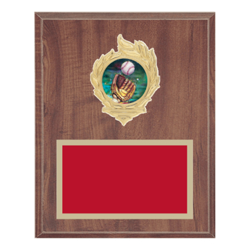 "8"" x 10"" Softball Plaque with gold background, colored engraving plate, gold flame medallion holder and Softball insert."