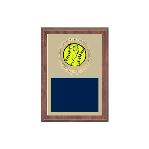 """5"""" x 7"""" Softball Plaque with gold background plate, colored engraving plate, gold wreath medallion and Softball insert."""