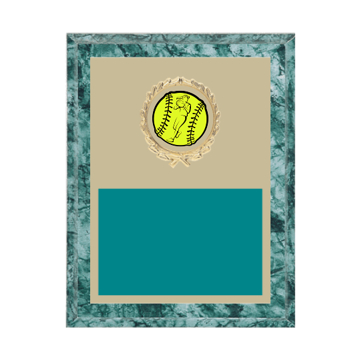 "7"" x 9"" Softball Plaque with gold background plate, colored engraving plate, gold wreath medallion and Softball insert."