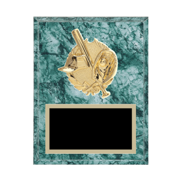 "7"" x 9"" Softball Plaque with gold background plate, colored engraving plate and gold 3D Softball medallion."