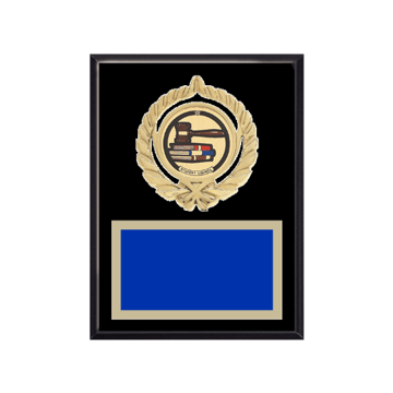 "6"" x 8"" Student Council Plaque with gold background plate, colored engraving plate, gold open wreath medallion holder and Student Council insert."