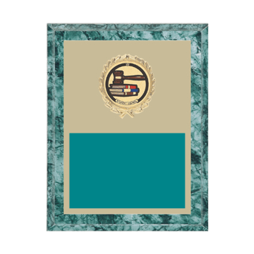"7"" x 9"" Student Council Plaque with gold background plate, colored engraving plate, gold wreath medallion and Student Council insert."