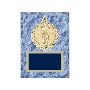"6"" x 8"" Victory Plaque with gold background plate, colored engraving plate and gold 3D Victory medallion."